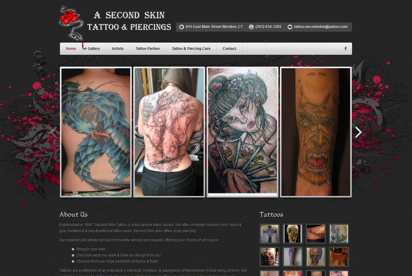 Web development ct webkudu for Tattoo nightmares shop website